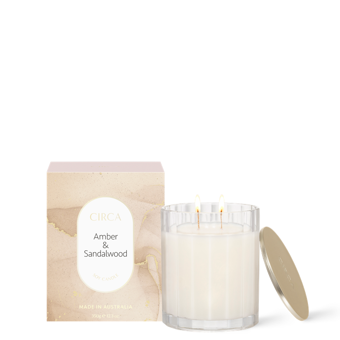 """**Amber & Sandalwood, $39.95, [Circa Home](https://circa.com.au/collections/scented-soy-candles/products/amber-sandalwood-candle-350g