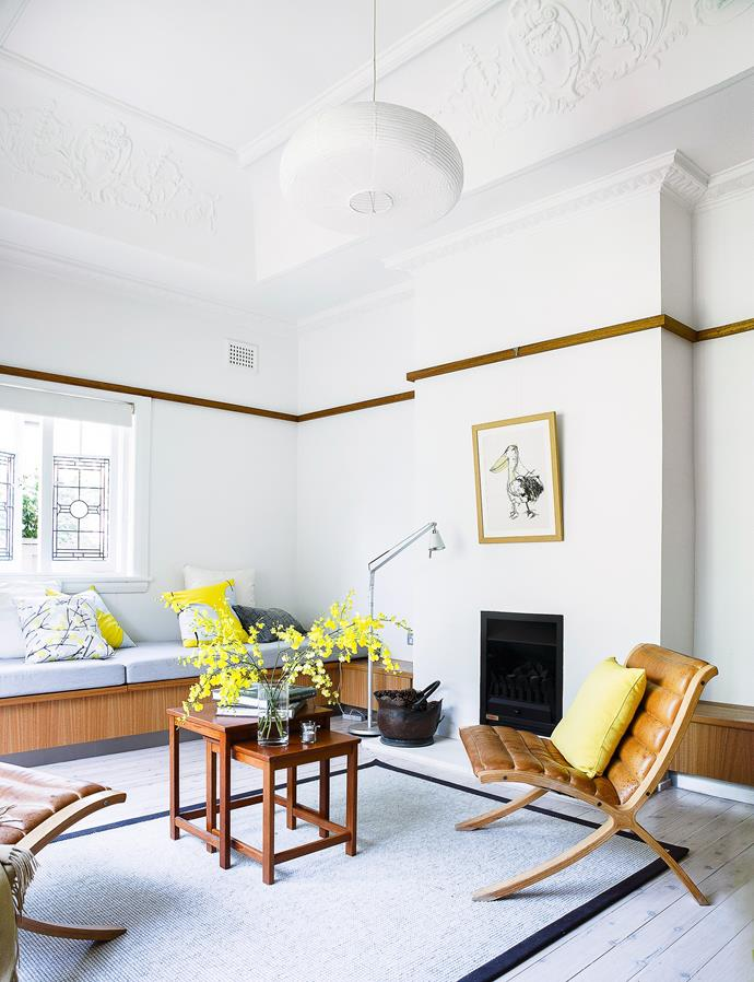 """Moulded ceilings, picture rails and leadlight windows in this [Art Deco home](https://www.homestolove.com.au/dianne-and-davids-small-house-design-makes-a-big-impact-1767 target=""""_blank"""") have been refreshed with a lick of white paint."""