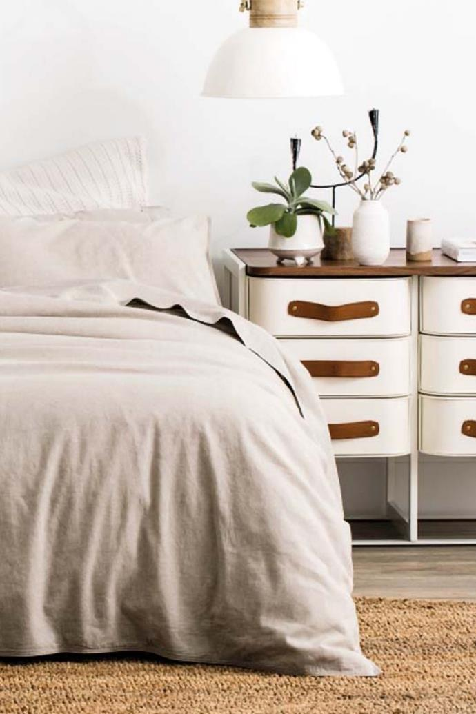 Sheridan Outlet's washed linen cotton quilt cover set is a bestseller.