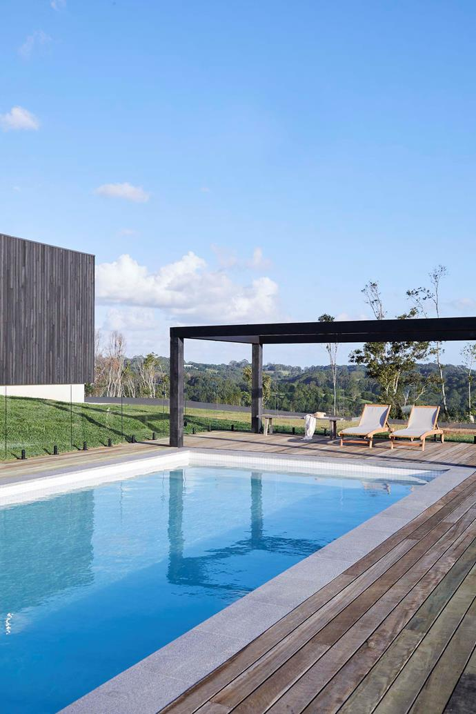 While the coping is granite, the timber surrounding the pool is rough-sawn spotted gum that's greying over time. Kristal and David chose a healthier magnesium mineral pool over a chlorinated or salt-water option.