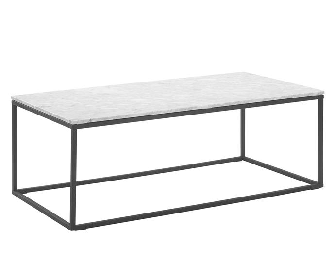 """**White Serena Italian Carrara Marble Coffee Table, $499, [Temple & Webster](https://www.templeandwebster.com.au/110cm-White-Serena-Marble-Coffee-Table-SBLCBRWN-TPWT2846.html#view-image