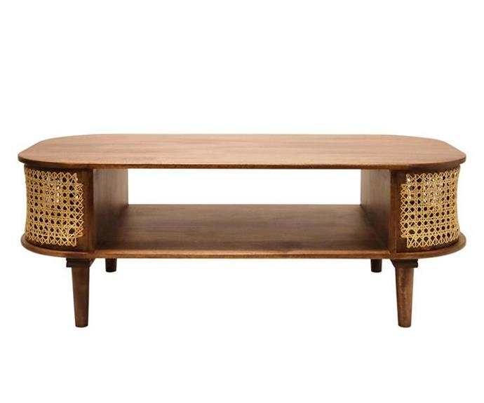 """**Sirocco Mango Wood & Cane Coffee Table, $745, [Living Styles](https://www.livingstyles.com.au/sirocco-mango-wood-cane-coffee-table-120cm/