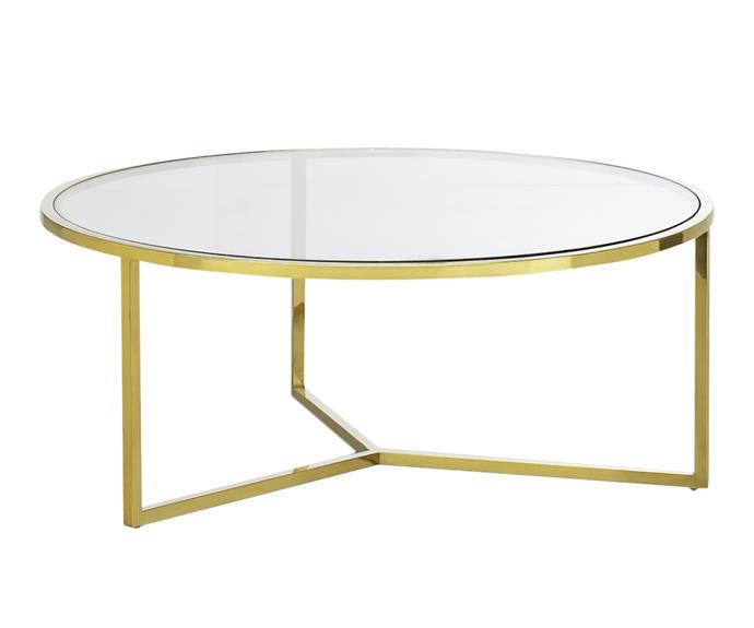 """**Gold Polished Luxe Round Coffee Table, $499, [Temple & Webster](https://www.templeandwebster.com.au/Gold-Polished-Luxe-Bianka-Round-Coffee-Table-60-001-FEEL1561.html?