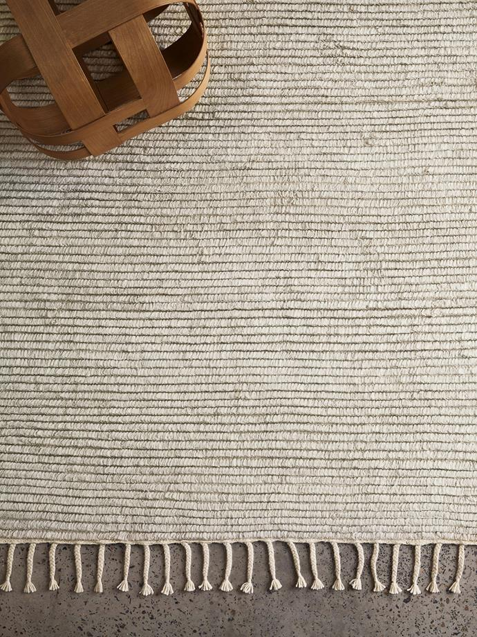 """**Malawi Rug in Oatmeal, 1.7 x 2.4m, $1640, [Armadillo & Co](https://armadillo-co.com/product/malawi/
