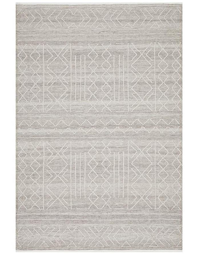 """**Arya Stitch woven rug in Natural, 225x155cm,   $429.00, [Myer](https://www.myer.com.au/p/rug-culture-arya-stitch-woven-rug-natural?colour=Natural&size=225x155cm