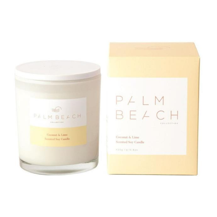 """**Palm Beach Collection Coconut & Lime Candle 420g, $42.95, [Myer](https://www.myer.com.au/p/palm-beach-collection-coconut-lime-candle