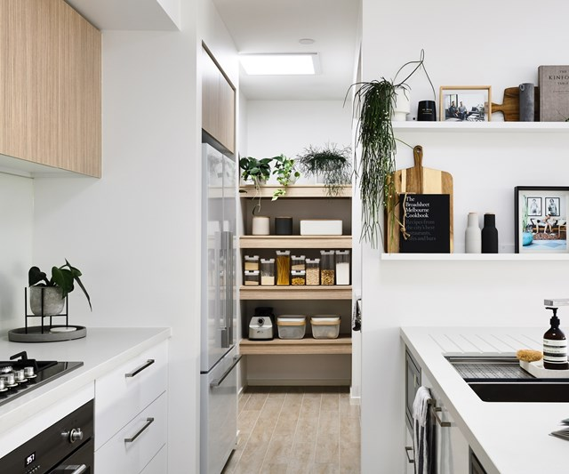 """Utilise space from elsewhere in small kitchens, like the built-in storage behind the scenes in this [Nordic-style new build in Melbourne](https://www.homestolove.com.au/scandi-new-build-melbourne-22846