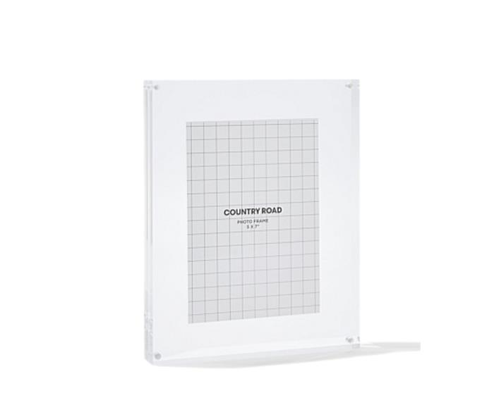 """**Lucite extra large frame, $69.95, [Country Road](https://www.countryroad.com.au/lucite-extra-large-frame-ifrfr198
