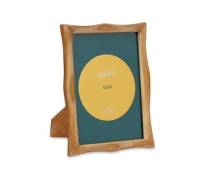 """**Safi Bamboo Natural Photo Frame, 5x7"""", $29.99, [Adairs](https://www.adairs.com.au/homewares/home-decor/adairs/safi-5x7-natural-photo-frame/