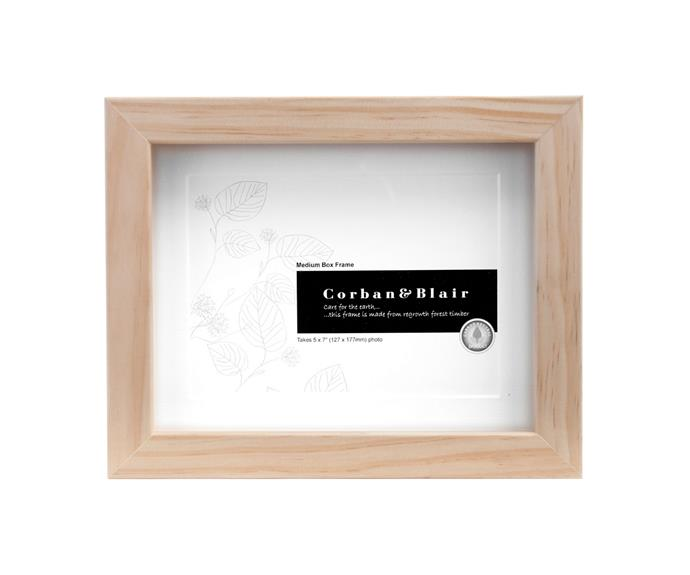 """**Box frame in Natural with 5×7″ mat, $49.00, [Corban & Blair](https://corbanblair.com.au/product/5x7-box-frame/