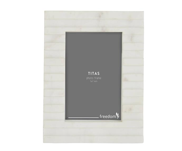 """**Titas marble photo frame, 5x7"""", $39.95, [Freedom](https://www.freedom.com.au/product/24299497