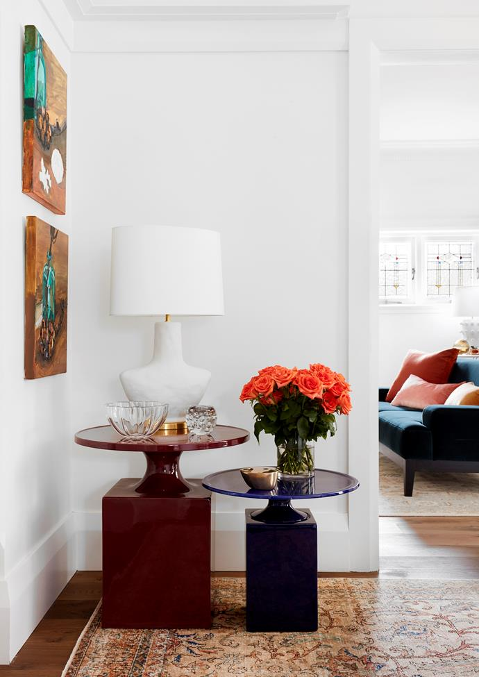 Christophe Delcourt side tables with 'Armato' lamp by Kelly Wearstler. Brass oil burner from Studio Henry Wilson. Artworks by Laura Jones from Olsen Gallery. Rug from Cadrys.