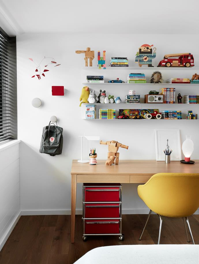 One of the children's bedrooms and study area. Desk chair from Cult. Custom oak desk. Rug from Armadillo. Muuto wall hooks. Flos 'Tab' lamp from Euroluce.