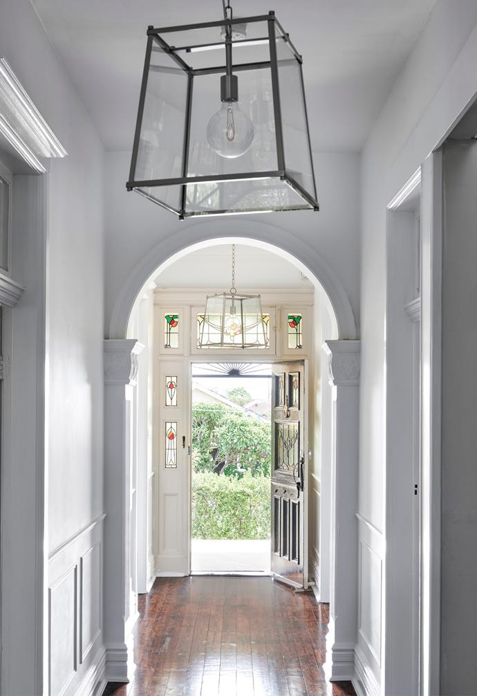 Original features in the hallway were refreshed with a lick of Resene Alabaster.