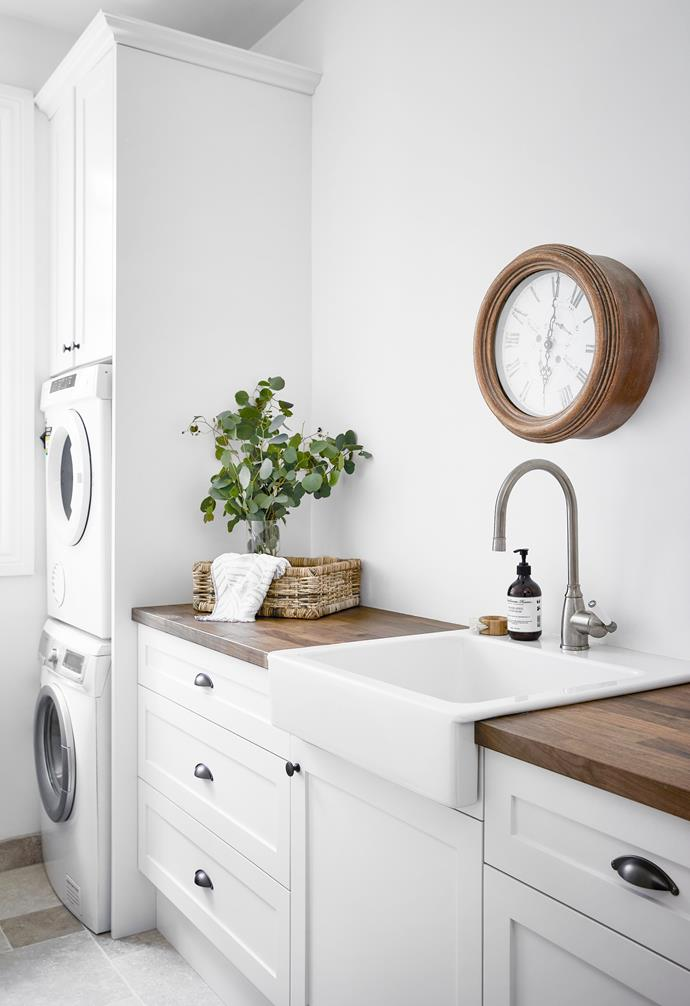 Shoreline Kitchens built the laundry from the old kitchen carcasses. The sink, tap and benchtop are all Ikea.