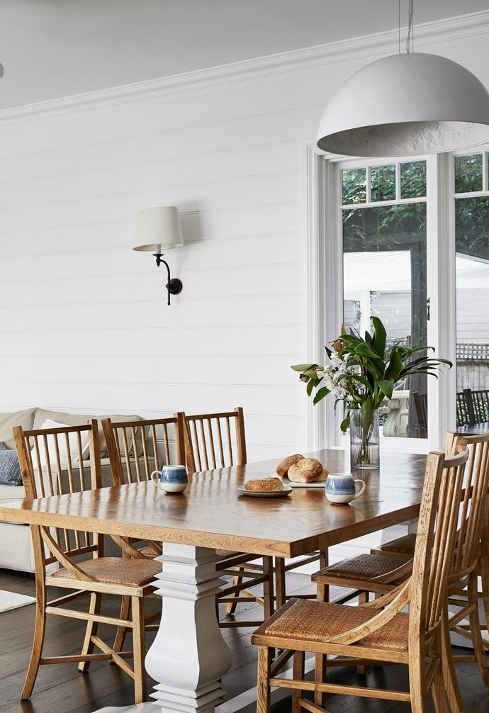 """Offset from the kitchen, the [dining area](https://www.homestolove.com.au/relaxed-dining-area-ideas-3675