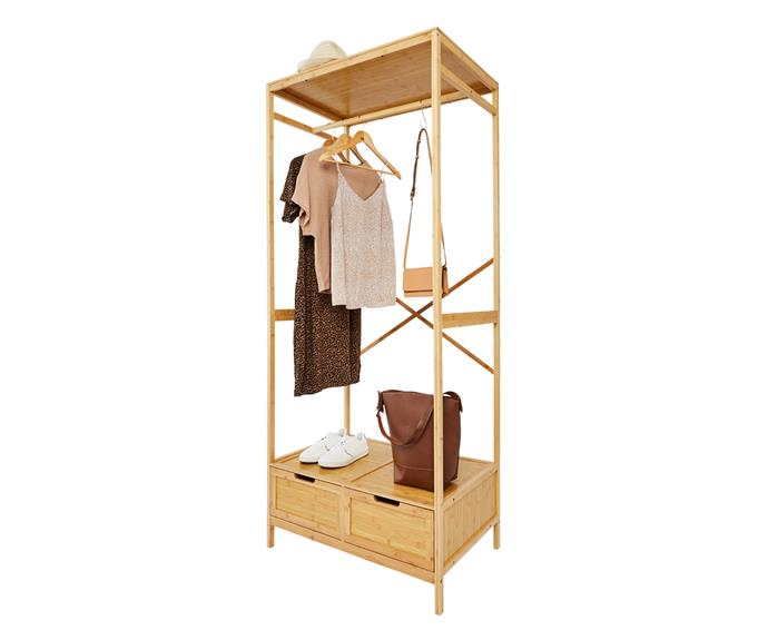 """Get your overflowing wardrobe organised once and for all with the **[bamboo garment rack with drawers, $99](https://www.kmart.com.au/product/bamboo-garment-rack-with-drawers/3623858