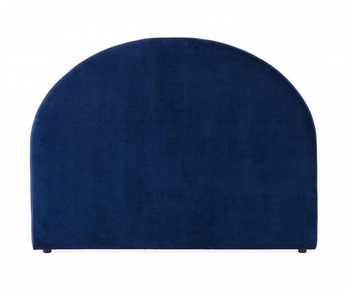 """**[Harmony Arch velvet bedhead in blue, $299 (Queen), Lounge Lovers](https://www.loungelovers.com.au/harmony-arch-bedhead-velvet-navy-blue-queen