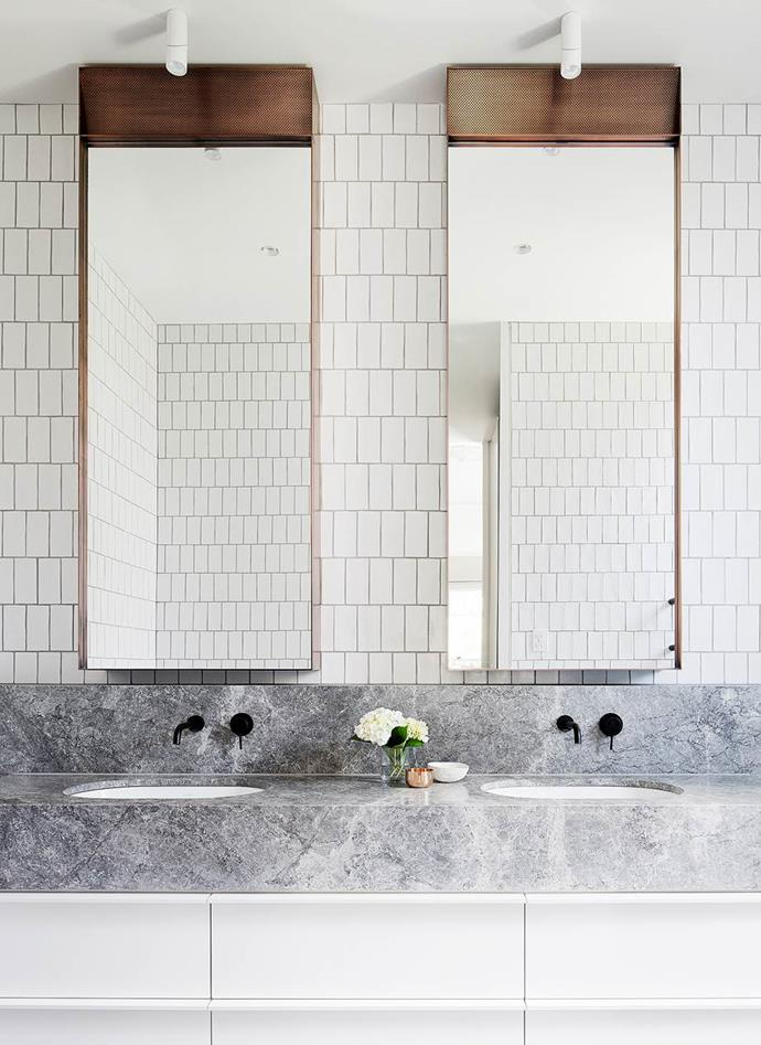 *You need to plan ahead before booking in trades for a bathroom renovation, especially if you live in an apartment. Simple brick tiles and pared back joinery sit alongside the modern luxuries in this bathroom designed by Mim Design. Photographer: Felix Forest*