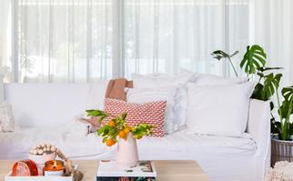White living room styled with Kmart homewares