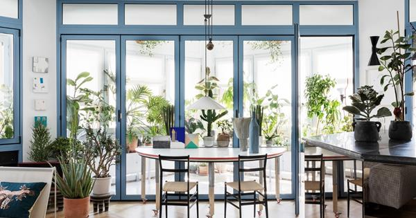 An inner-city apartment overflowing with greenery