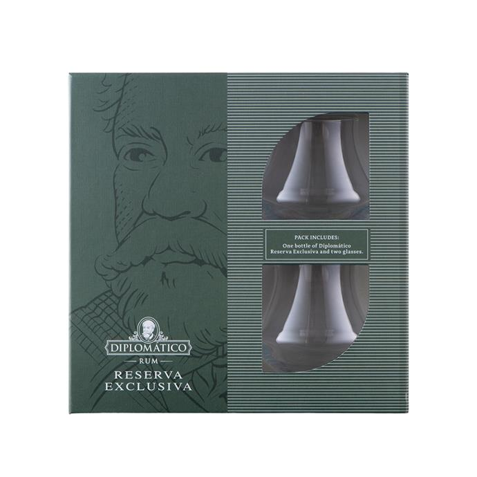 """**Diplomatico Rum Reserva Exclusiva Rum & Twin Glasses Gift Pack, $119.99, [Boozebud](https://www.boozebud.com/p/diplomaticorum/reservaexclusivarumtumblergiftpack