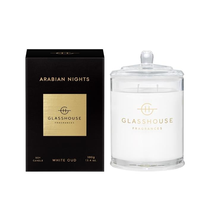 """**Arabian Nights Candle, $49.95, [Glasshouse](https://www.glasshousefragrances.com/collections/home-fragrance-candles/products/380g-candle-arabian-nights?variant=31377664376916