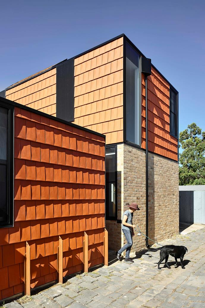 """""""Terracotta House has a direct relationship to the laneway and sits among neighbouring garages and outbuildings"""" Austin Maynard Architects"""