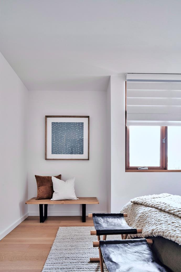 """It's important to select a style of blinds that suits the home. In this bedroom, [Roman blinds](https://www.homestolove.com.au/how-to-make-a-roman-blind-8908