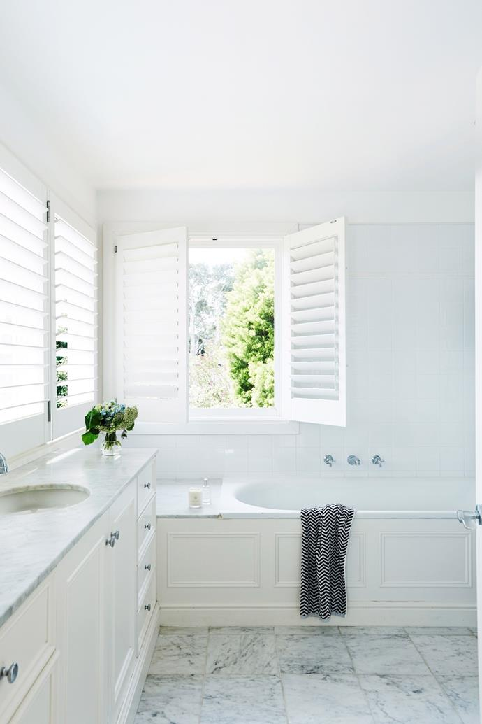 """Chrissie says there's no need to furnish every window in the home the same way. In wet areas for example, [plantation shutters](https://www.homestolove.com.au/plantation-shutters-20634