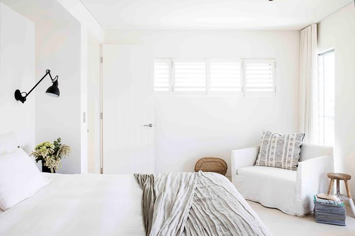 Kylie and Tony's bedroom is a calming sanctuary, immersed in snowy white linen.