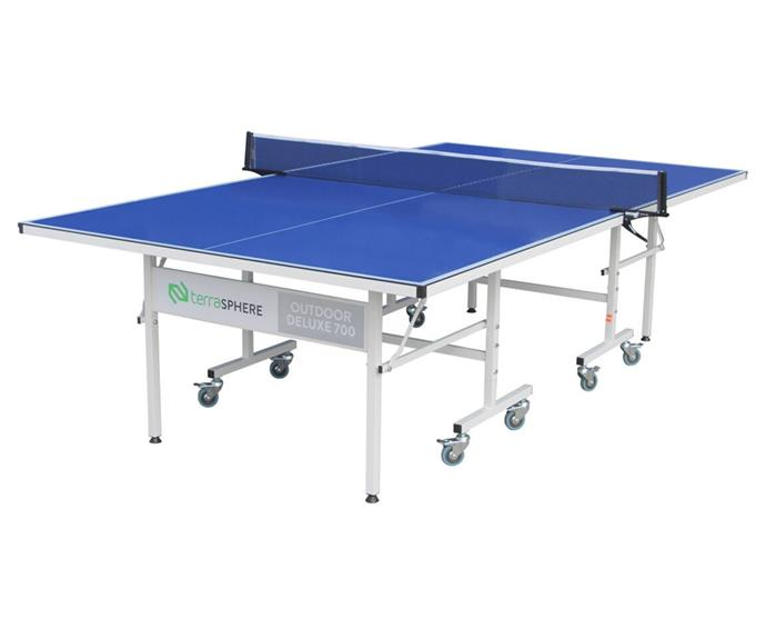 """**[Terrasphere outdoor deluxe tennis table, $699, Rebel Sport](https://www.rebelsport.com.au/p/terrasphere-outdoor-deluxe-700-table-tennis-table-578421.html