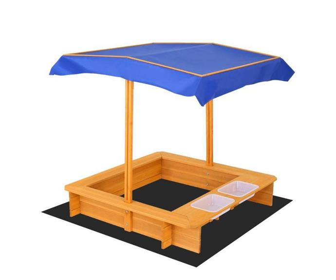 """**[Keezi outdoor canopy sand pit, $111.99, Toy Universe](https://www.toyuniverse.com.au/collections/sand-pits-and-sand-toys/products/keezi-outdoor-canopy-sand-pit