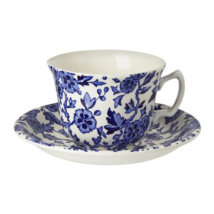 """During the zoom, one of Meghan's tea sets made an appearance, and although the exact monochrome Burleigh teacup has sold out, this Burleigh teacup and saucer ticks all the same boxes.   **Burleigh Blue Arden Teacup, $72, [Amara](https://www.amara.com/au/products/blue-arden-teacup target=""""_blank"""").**"""