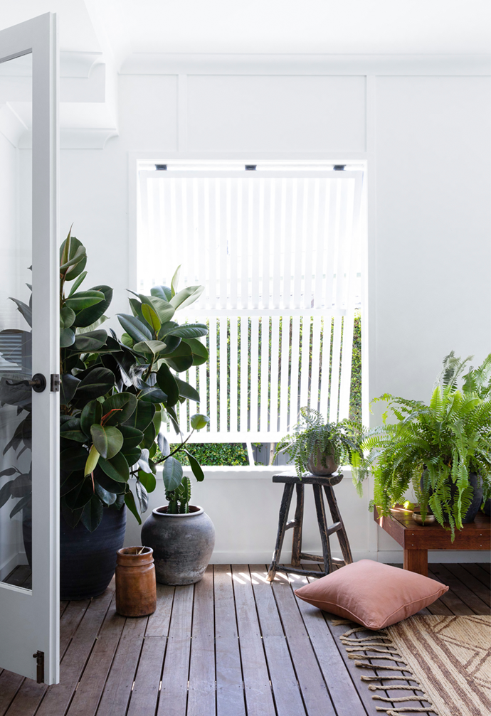 """Plants are in abundance on the balcony of this [coastal home in Queensland](https://www.homestolove.com.au/white-coastal-home-queensland-22306