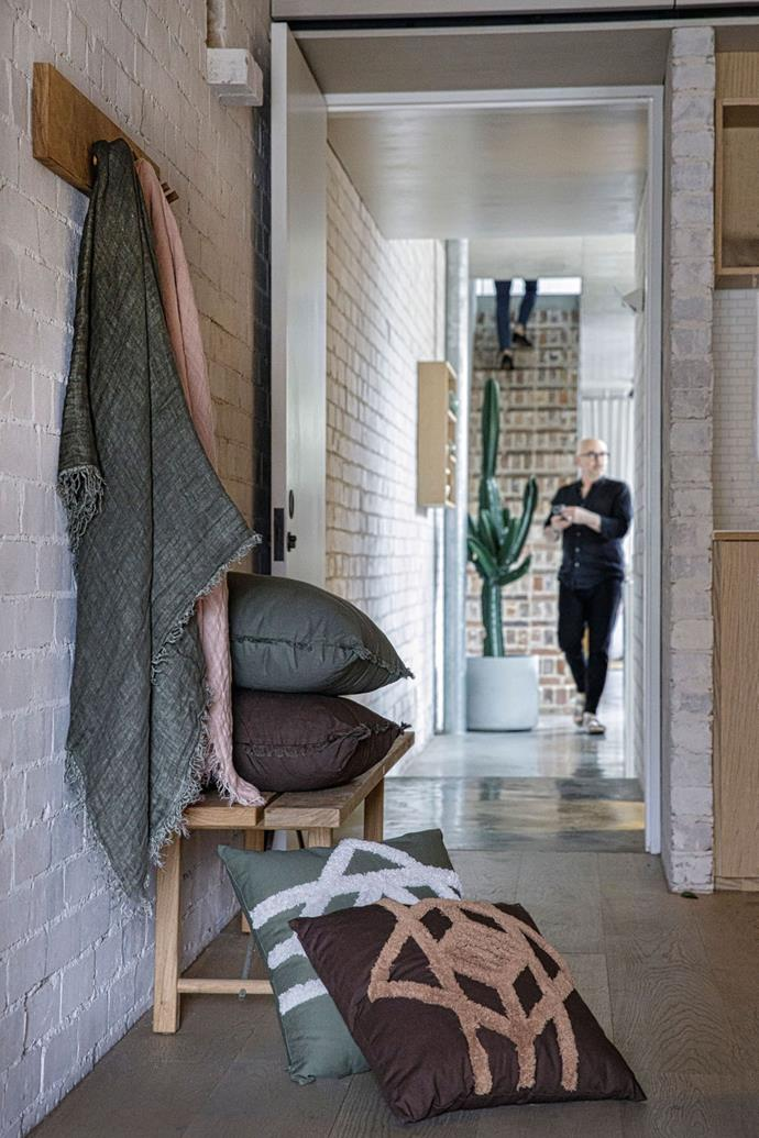 """Neale selected colours that could be styled together with ease. Pictured are the linen throws in [wattleseed](https://www.house.com.au/neale-whitaker-linen-throw-wattleseed target=""""_blank"""" rel=""""nofollow"""") and [pink salt](https://www.house.com.au/neale-whitaker-linen-throw-pink-salt target=""""_blank"""" rel=""""nofollow""""). Grove fringe cushion in [wattleseed](https://www.house.com.au/neale-whitaker-grove-fringe-cushion-wattleseed target=""""_blank"""" rel=""""nofollow"""") and [burrow](https://www.house.com.au/neale-whitaker-grove-fringe-cushion-burrow target=""""_blank"""" rel=""""nofollow"""") on bench. Illaroo tufted cushions in [granite](https://www.house.com.au/neale-whitaker-illaroo-tufted-cushion-granite target=""""_blank"""" rel=""""nofollow"""") and [burrow](https://www.house.com.au/neale-whitaker-illaroo-tufted-cushion-burrow target=""""_blank"""" rel=""""nofollow"""") on floor."""