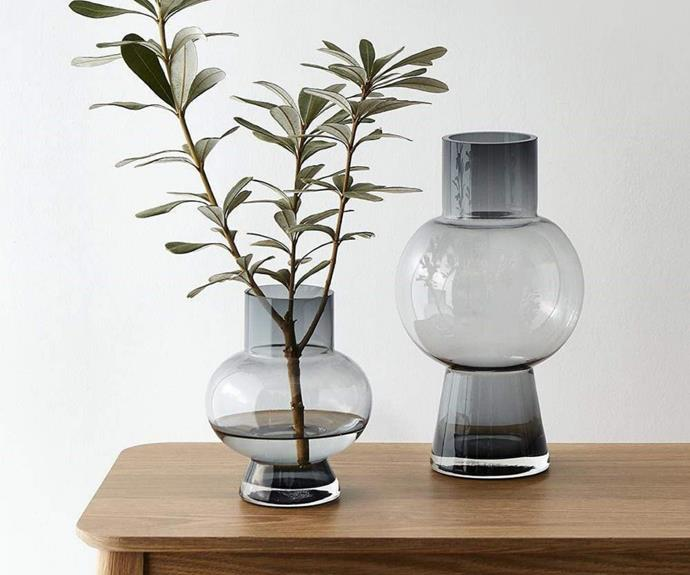 """Spring blooms are arriving soon. Get prepared to put fresh flowers on display with a sculptural, tinted glass vase. The **[Hemisphere vase, $49.99](https://www.house.com.au/neale-whitaker-hemisphere-vase-tall target=""""_blank"""" rel=""""nofollow"""")** is available in small and tall."""