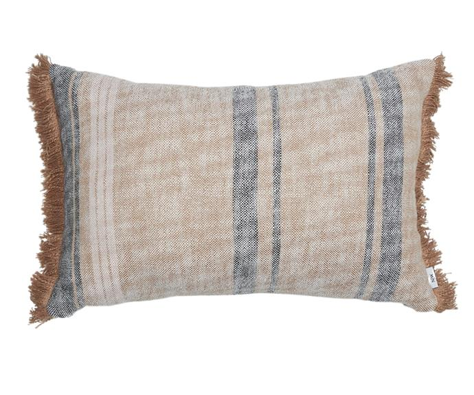 """Take your bed styling up a notch with an accent cushion. The **[Bowral cushion, $119.99](https://www.house.com.au/neale-whitaker-bowral-cushion-desert-salt target=""""_blank"""" rel=""""nofollow"""")** in shade 'Desert Salt' features on-trend fringing and a soft cotton construction."""