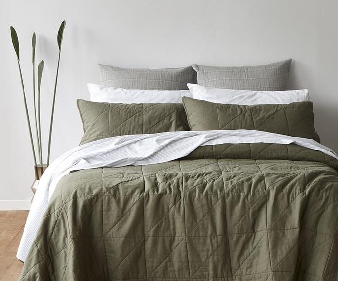 """Making the bed is easier when you can just pull up the coverlet. The **[Eden coverlet, $349.99](https://www.house.com.au/neale-whitaker-eden-coverlet-queen-king-wattleseed target=""""_blank"""" rel=""""nofollow"""")** is made from breathable, premium quality cotton and is naturally hypoallergenic. Layer with the Braemar quilt cover for ultimate impact."""
