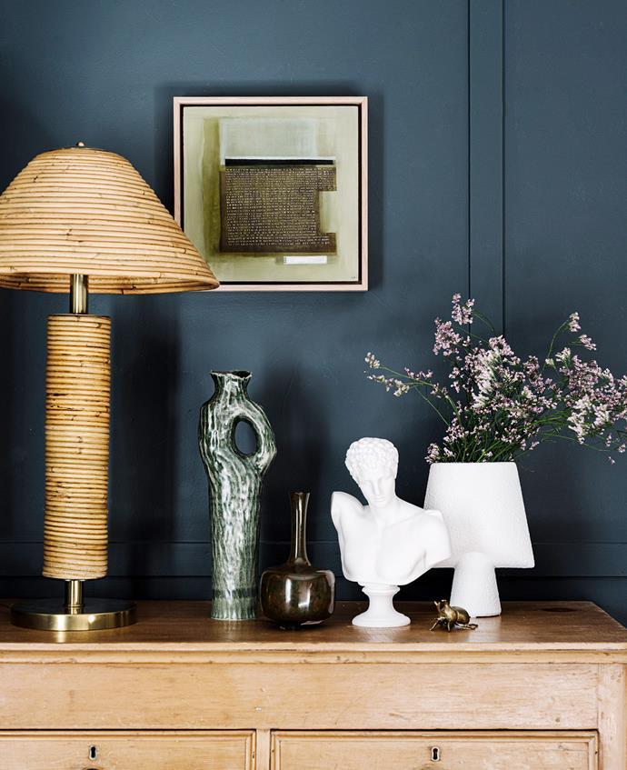 Console, Found at Hepburn. Lamp, Conley & Co. Alabaster bust, Mercer & Lewis. White vase, Becker Minty. Artwork by Leonie Barton.