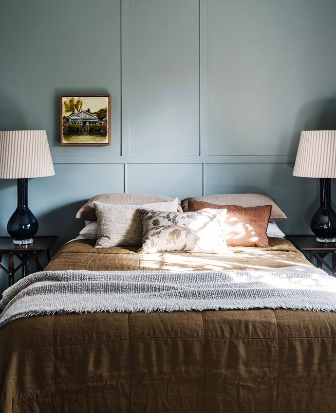 Bedside table, Orient House. Table lamp, Bragg & Co. Bedlinen, Society Limonta.