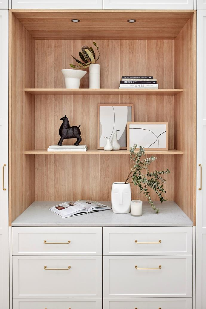 """The judges were impressed with the beautifully styled wardrobe which featured a benchtop in 'Noble Grey' by Caesarstone. 'Aztec' face vase from [The Block Shop](https://www.theblockshop.com.au/product/aztec-face-vase-white-pre-order/