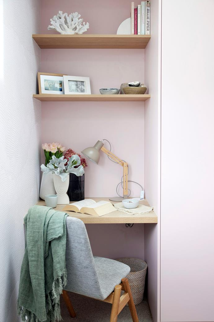 """The judges agreed the study nook in the guest bedroom felt narrow and cramped. 'Arenas' table lamp, photo frames, coral sculpture and bookends from [Freedom](https://www.freedom.com.au/