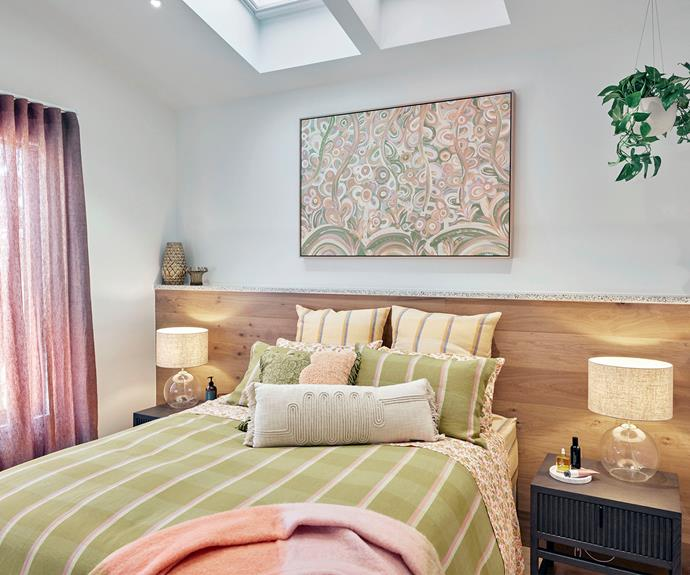 """The judges loved Tanya and Vito's choice in artwork and bedding. All bedding from [Bungalow Trading Co](https://bungalowtradingco.com.au/
