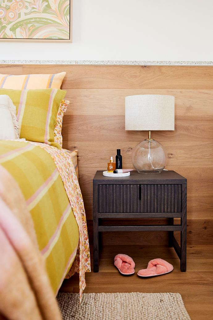 """While there were flaws with the room, the judges couldn't fault the couple's eye for style. 'Addison' bedside tables in slate from [Satara](https://www.satara.com.au/addison-bedside