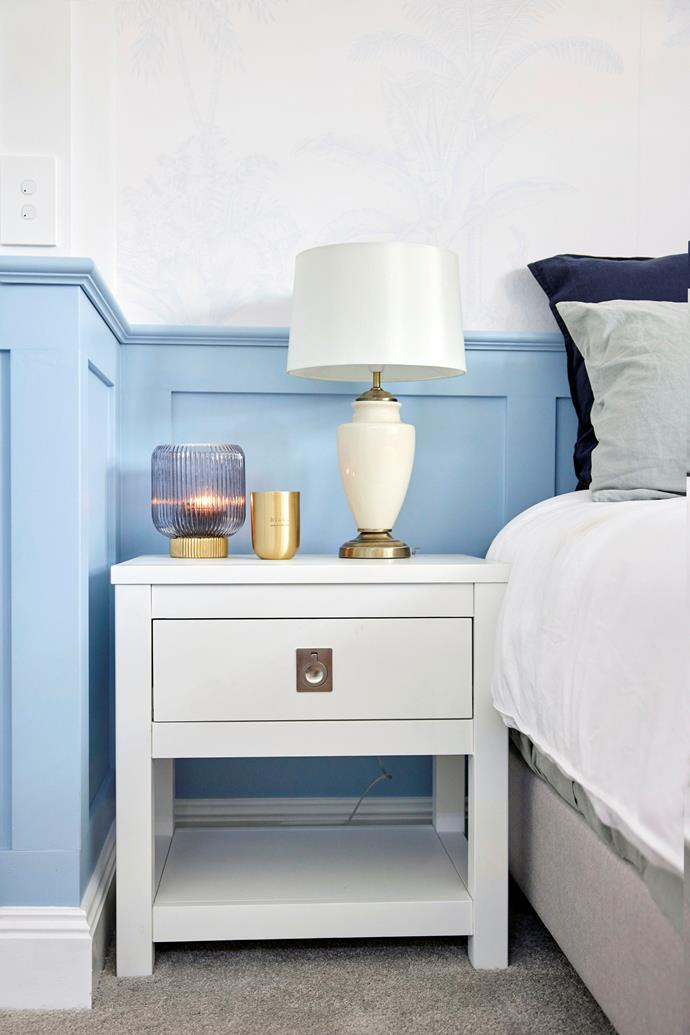 """The judges loved the subtle blue wallpaper Kirsty and Jesse selected. 'Bayswater' bedside table from [Freedom](https://www.freedom.com.au/product/24192422
