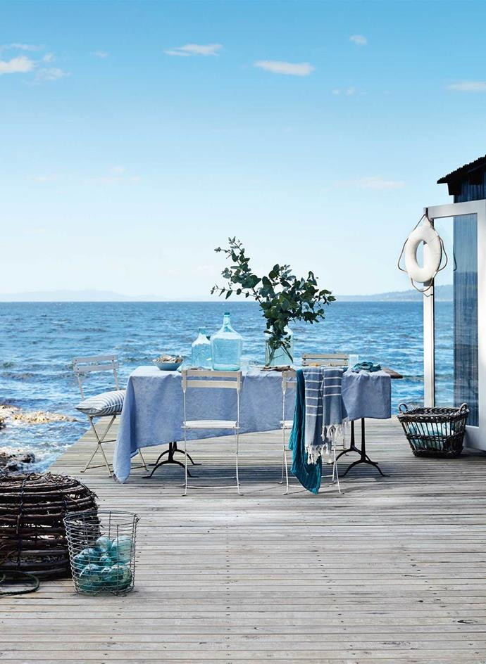 """It's hard to be blue with this azure view. Both a family retreat and a [guest house](https://www.homestolove.com.au/your-own-private-island-retreat-13661/