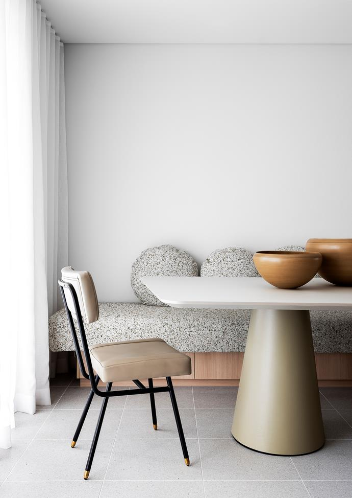 Bench seat in Navurban 'The Oaks' veneer from New Age Veneers with upholstery and cushions in Kvadrat 'Atom' fabric by Raf Simons. Sheer curtains made in 'Charlton' fabric in Paper from James Dunlop Textiles. Rina Menardi 'Buttercup' bowls from Ondene.