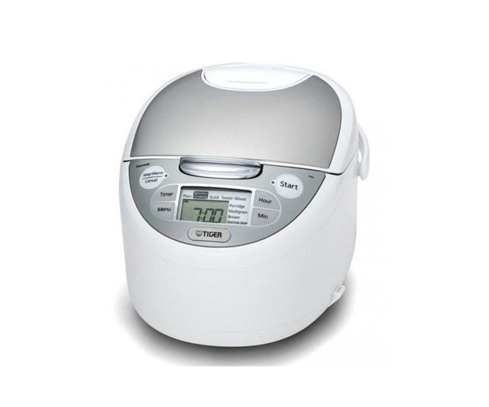 """**A rice cooker   Tiger Muli-functional Rice Cooker, JAZ-S10A, $299, [Bing Lee](https://www.binglee.com.au/tiger-multi-functional-rice-cooker-jax-s10a target=""""_blank"""" rel=""""nofollow"""")**  If you eat rice at least once a week, a rice cooker might be your new best friend. It's not rocket science, but there is sound technology behind a good quality rice cooker. Simple to use, simply set and forget so you can get on with the rest of your cooking. There are many rice cookers on the market, so it's best to do your research. Most models have a """"warm"""" function to keep your rice at ready-to-eat temperature for up to 12 hours, so great to use in tandem with a [slow cooker](https://www.homestolove.com.au/best-slow-cookers-australia-21743 target=""""_blank""""). Other grains such as quinoa, polenta and oats can also be cooked in your rice cooker and some models will also steam vegetables, slow cook soups and sauces."""