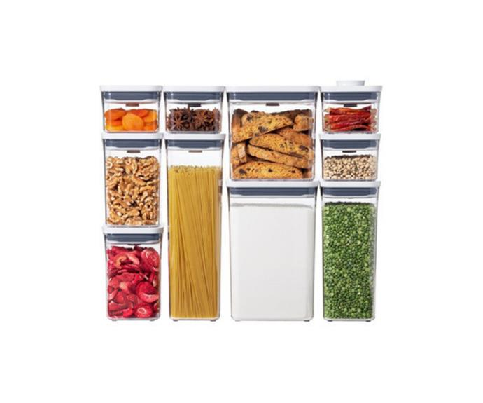 """**Proper pantry storage containers   Oxo Pop 2.0 10 piece set, [Myer](https://www.myer.com.au/p/oxo-pop-20-10-piece-set target=""""_blank"""" rel=""""nofollow"""")**  There's something so satisfying about a [fully stocked pantry](https://www.homestolove.com.au/tips-for-organising-your-pantry-3461 target=""""_blank"""") with foodstuffs lined up in labelled see-through containers. It's not only beautiful to look at, it uses your shelving more efficiently than chucking in things randomly. Invest in a supply of modular containers and take the time to decant food supplies out of their own packets and boxes."""